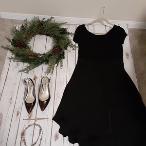 Loft black low back fit and flair dress